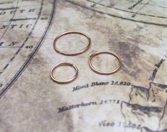 Pink gold cartilage hoop earring, 6mm 8mm 10mm, Rose gold lip ring, Rook daith helix tragus earring 22 gauge small snug sleeper hoop 20g