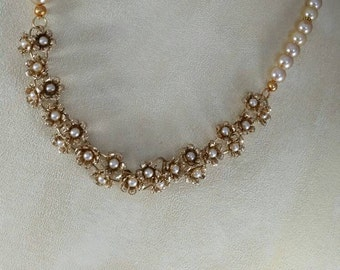 Vintage repurposed antique gold tone and pearl bib necklace.