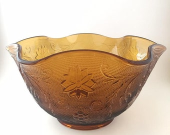 Vintage Indiana Glass Daisy Sandwich Pattern Bowl in Amber