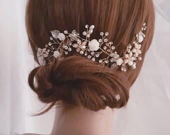 Wedding Hair Vine, Gold Bridal Head Piece, Silver Bridal Hair Accessory, Flower Hair Vine, Pearl Hair Vine