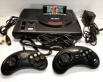 Sega Genesis Model 1 System Console Rebuilt with New Capacitors, 2 Controllers, AV cable, Sega AC adapter, Sonic 2 Game Cleaned Tested