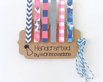 Clothespin Magnets, Clothespin Photo Clips, Classroom Decor, Refrigerator Magnets, Set of 6, Pink and Blue, Stripes and Floral