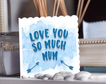 handmade Card for mum or mom, blue knitted fabric, textured card, mother birthday, Mum or Mom, blue watercolour card, card for mum who knits