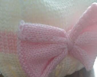 Newborn Baby Girl, Infant, Warm Newborn hat, Baby Knit,Crochet Hat,Soft Hat,Cap,Great Gift, Newborn,BabyShower, Winter, Pink, Ivory