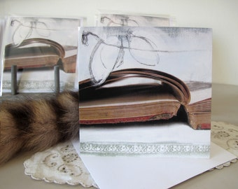 Greeting card with old books, blank inside, square, giclée print