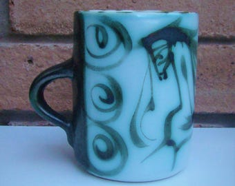 Bill and Maggie Fisher CELTIC POTTERY  MOUSEHOLE Cornwall Mug/Tankard with the desirable Horse design.