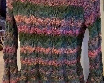 Handmade Knitted Victorian Cabled Bell Sleeved Sweater