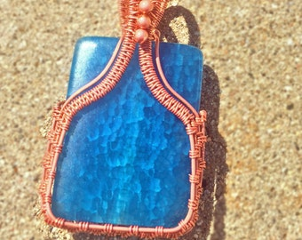 Aqua Fire Agate Pendant, Wire Wrapped Jewelry, Blue Necklace, Copper, Beads, Gifts for Her, Mother's Day Present, Rectangle, Handmade