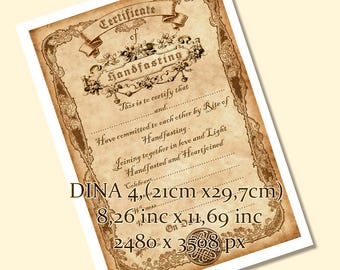 Printable HANDFASTING CERTIFICATE . wedding. marriage. parchment . Magic . Wicca. Pagan . Rite. wiccan . Celtic. vintage- DOWNLOAD jpg. pdf.