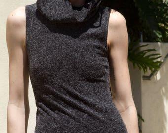 Vintage Heather Grey Charoal Cowl Midi Tube Dress