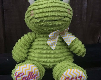 Personalized Frog, Personalized easter gift, Easter Basket, Green frog, Stuffed frog, Easter basket, Easter gift, Baby gift, Stuffed animal