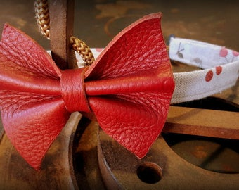 bow tie, bow tie, leather and linen, leather