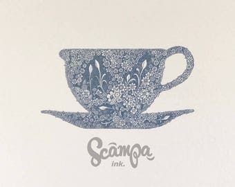 Original hand drawn, ink print illustration of a beautifully detailed blue teacup. Framed