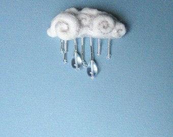 Rain Cloud Drops Needle Felt Brooch Glass Droplets Beaded Pin Gift Felt Pin Water Weather Jewellery Accessory Design Jewelry Fuzzy Eco OOAK