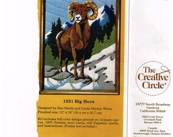 Vintage Needlepoint Kit Opened Big Horn Sheep All Parts Inc to Complete Kit Creative Needle