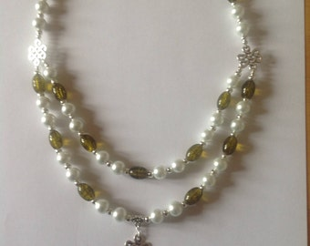 White pearl and olive green necklace beaded necklace pearl necklace pendant necklace statement necklace handmade necklace