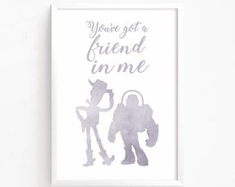 Sale 50% Off - Toy Story Watercolor Printable ( Woody, Buzz Lightyear, Pixar Disney print art poster friendship kids nursery quote Boys Room