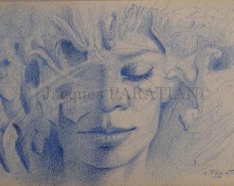 Fantastic, magical portrait. Original drawing. Pencil on paper.