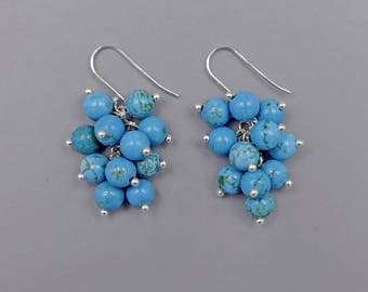 Turquoise colored Magnesite Cluster Earrinmgs