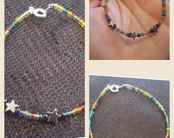 Rainbow Hematite Star Bracelet