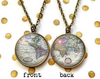 Double Sided Antique World Map Necklace, Vintage Map Jewelry, Vintage Globe Pendant, Travel Gift, Backpacker Travelling Wandering