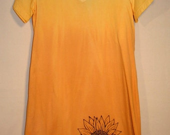 Cover-up, T-shirt dress, Hand dyed, Hand printed, yellow/yellow-orange, Sunflower front, Small sunflower back