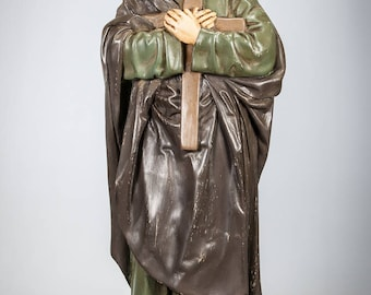 "RARE 24"" Large Antique Saint John of the Cross Plaster Statue Very Unique St Figure St Jean De La Croix San Juan De La Cruz"