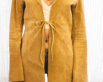 SALE 70s Beige Suede Leather Jacket