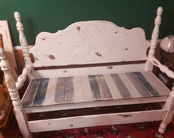 Distressed garden bench made from antique bed! LOCAL PICKUP ONLY!