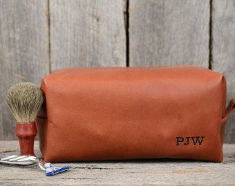 Large Whiskey Leather Toiletry Bag Travel Shaving Dopp Kit with Free Monogram and Optional Interior Message Gift for Man Boyfriend Husband
