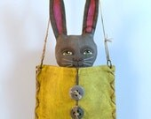 Pocket Bunny Gray Rabbit with Yellow Purse Original Hand Painted Folk Art Doll Sculpture OOAK