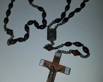 SALE Vintage Real Wood Rosary Wooden Crucifix Pectoral Cross Lourdes