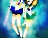 Uranus and Neptune - 5 x 7 Print - Sailor Moon sailor uranus sailor neptune anime kawaii illustration print art pretty design