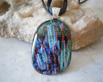 Extra Large Multiple Layer Dichroic Glass Jewelry, Fused Glass Jewelry, Vibrant Striped Pattern Art Glass Necklace. FP-68