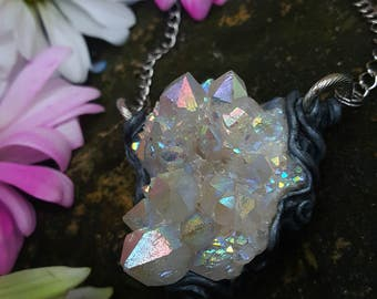 Angel Aura Spirit Quartz Necklace - Angel Aura Quartz Spirit Quartz with Silver Swirls - Iridescent Rainbow Spirit Quartz - Iridelia