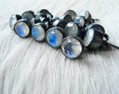 Rainbow moonstone studs | Rainbow moonstone earrings | Moonstone post earrings | Healing stone jewelry | Minimalist | Beijo Flor