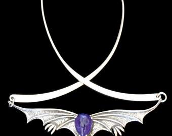 Dragon Necklace Gothic Jewelry Gothic Dragon Neckpiece with Tanzanite Silver Dragon Renaissance Jewelry Flying Dragon Choker
