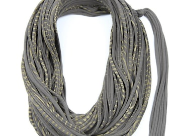 Beige & Gold Infinity Scarf, Jersey Layered Scarf, Fabric Statement Necklace, Jersey Cotton, Chunky, Trendy, Fashion Accessories, Gift Ideas