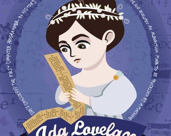 Ada Lovelace poster, Women in science illustration, scientist and mathematician print, portrait of the poet of science, Ada Byron