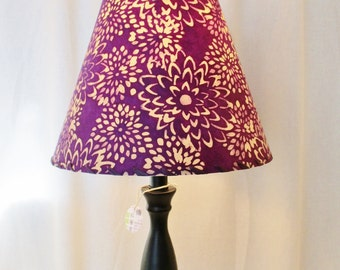 Batik Paper Lamp Shade, Purple Mums Lamp Shade, Nepalese Lokta Paper Lampshade, Purple Floral Batik Clip Top Lamp Shade, Botanical Lampshade