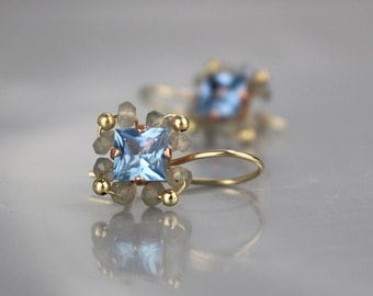 Blue CZ Earrings, Labradorite Earrings, Something Blue, Gold Filled Earrings, Unique Square Earrings, Gifts, Unique Jewelry, Gold Filled