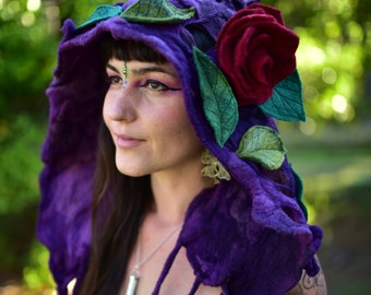 Felt Flower Hat-Woodland Head Wear-Pixie Hood-Bonnet-Fairy Costume-Flower Hat-Felt Flower-Festival Wear-Burning Man-Performance Costume OOAK