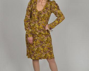 Boho Dress, Floral Print Dresses, Gold Dress, Victorian Style, Office Dress, Long Sleeve Dress, Size Small
