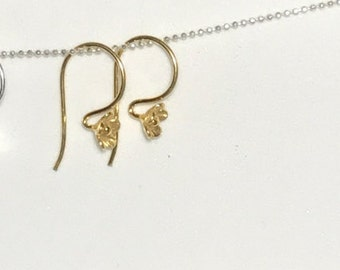 Shop Sale.. 1 5 10 Pairs, 24k Gold Vermeil CHERRY BLOSSOM FLOWER French Hook Earrings Earwires, 23x11 mm, artisan . petiteflower1 art solo
