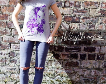 Screen printed T shirt - 'Poppy' illustration by Holly Sharpe