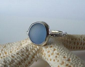 Cornflower Blue Sea Glass Ring - Genine English Sea Glass - Sterling Silver - Size 8-1/4 - LITTLE POND
