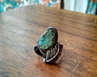 Turquoise Sterling Silver Leaf Ring - size 6.25 - Boho hippie earthy nature jewelry ponderbird