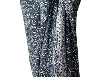 Dark Gray Men's Beach Sarong Batik Pareo Beach Wear - Swimsuit Coverup - Starry Night Spiral Dot Sarong Pareo Beach Wrap - Lavalava Wrap