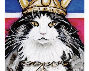Cat Viking Norwegian Forest Cat, cat sweatshirt, cat, Norwegian flag red white blue