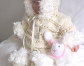 Aran baby sweater girls or Reborn Dolls Aran Baby Hoodie Sweater cardigan booties set with Furry Trim  0-12M Ready To Ship